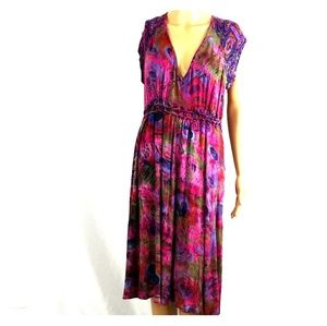 One world dress size large multi colored